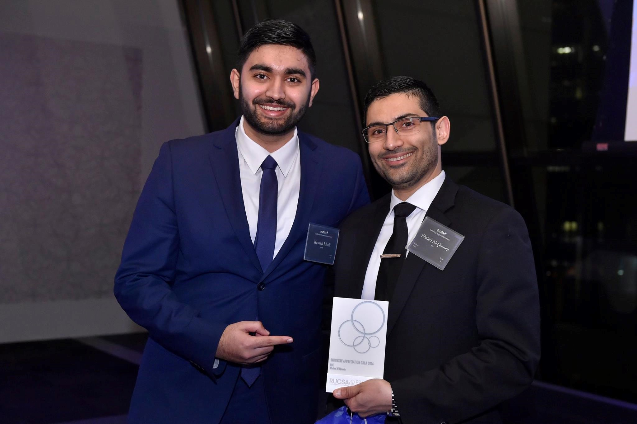 3rd year co-op student Krunal Modi with his manager Khaled Al-Qinneh from RBC.