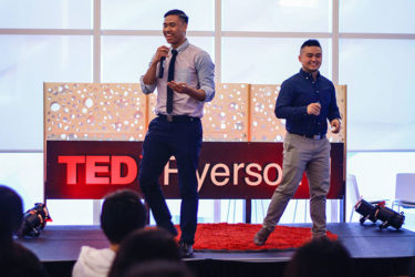 David and Brian on stage at TedxRyerson