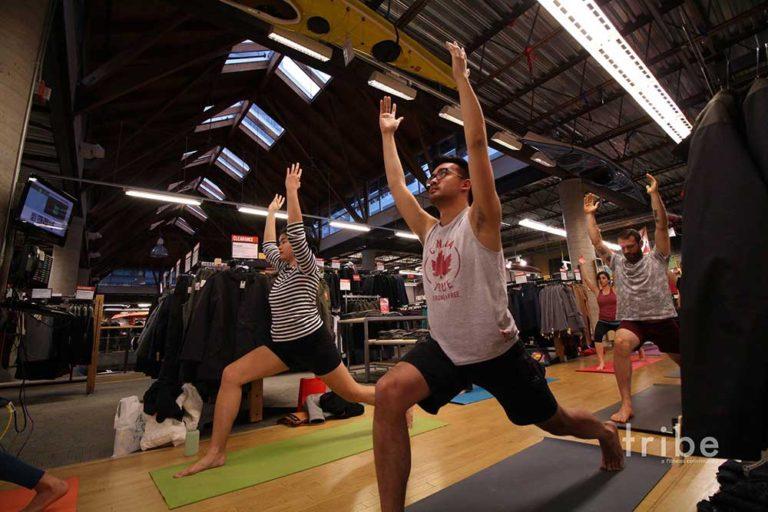 The author practising yoga
